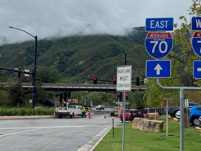 I-70 Exit 116 (Main Glenwood Springs) closure point.