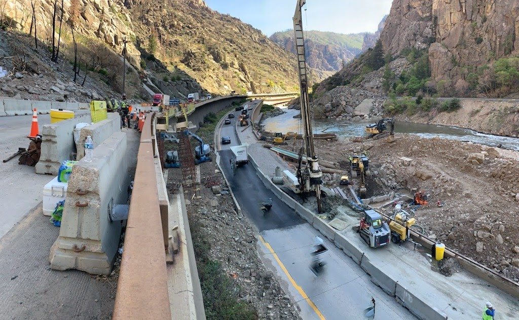 CDOT performs construction work in Glenwood Canyon.